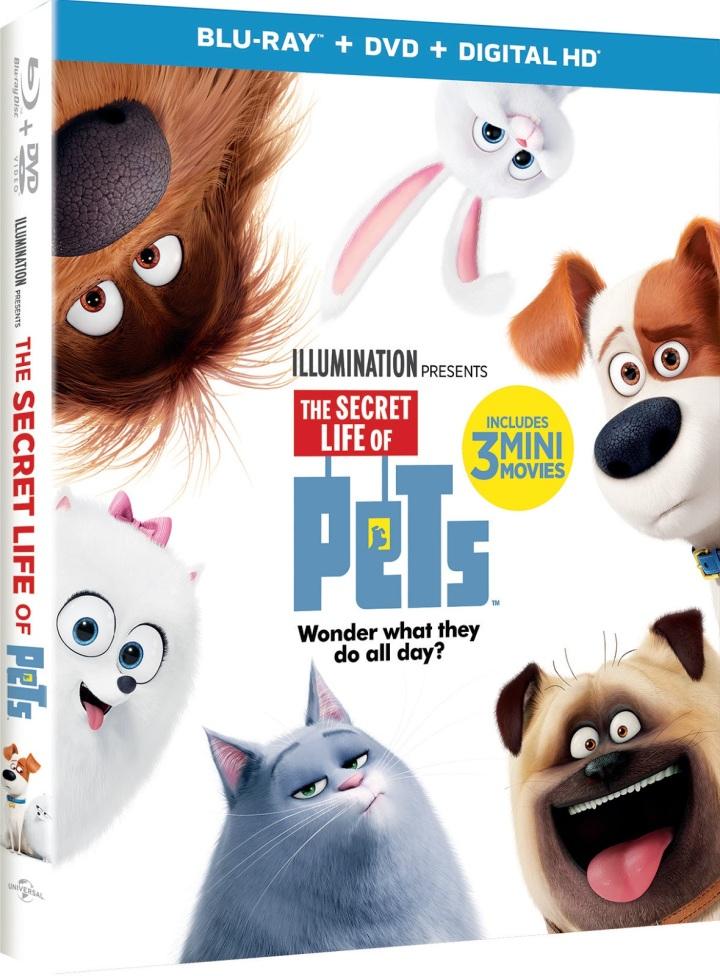THE SECRET LIFE OF PETS incluye 3 mini películas, En Digital HD el 22 de noviembre, 4K Ultra HD, BLU-RAY 3D, BLU-RAY, DVD, Bajo Demanda el 6 dediciembre