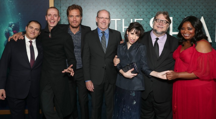 Michael Stuhlbarg, Doug Jones, Michael Shannon, Richard Jenkins, Sally Hawkins, Guillermo Del Toro and Octavia Spencer