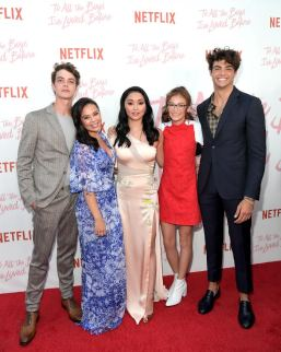 CULVER CITY, CA - AUGUST 16: Israel Broussard, Janel Parrish, Lana Condor Anna Cathcart and Noah Centineo attend Netflix's 'To All the Boys I've Loved Before' Los Angeles Special Screening at Arclight Cinemas Culver City on August 16, 2018 in Culver City, California. (Photo by Charley Gallay/Getty Images for Netflix) *** Local Caption *** Israel Broussard;Janel Parrish;Lana Condor Anna Cathcart;Noah Centineo