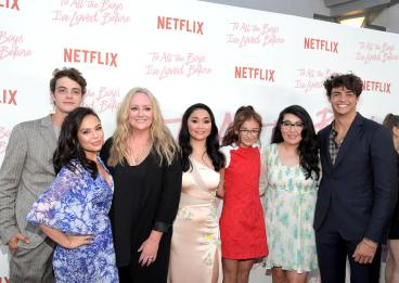 CULVER CITY, CA - AUGUST 16: Israel Broussard, Janel Parrish, Susan Johnson, Lana Condor Anna Cathcart, Jenny Han and Noah Centineo attend Netflix's 'To All the Boys I've Loved Before' Los Angeles Special Screening at Arclight Cinemas Culver City on August 16, 2018 in Culver City, California. (Photo by Charley Gallay/Getty Images for Netflix) *** Local Caption *** Israel Broussard;Janel Parrish;Lana Condor;Anna Cathcart;Noah Centineo;Jenny Han