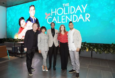 "LOS ANGELES, CALIFORNIA - OCTOBER 30: (L-R) Producer Brad Krevoy, Kat Graham, Ron Cephas Jones, Netflix Director of Content Acquisitions Christina Rogers and Quincy Brown attends ""The Holiday Calendar"" Special Screening Los Angeles at NETFLIX Icon Building on October 30, 2018 in Los Angeles, California. (Photo by Charley Gallay/Getty Images for Netflix)"