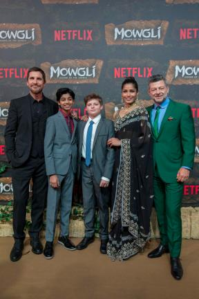 Mowgli World Premiere, Mumbai, November 25, 2018 (L-R) Christian Bale, Rohan Chand, Louis Ashbourne Serkis, Freida Pinto and Andy Serkis (Photographer - Ritam Banerjee / Netflix)
