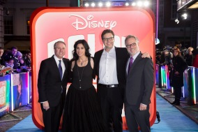 LONDON, ENGLAND - NOVEMBER 25: (L to R) Clark Spencer, Sarah Silverman, Phil Johnston and Rich Moore attend the European Premiere of 'Ralph Breaks The Internet' at The Curzon Mayfair on November 25, 2018 in London, England. (Photo by StillMoving.net for Disney)