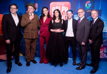 LONDON, ENGLAND - NOVEMBER 25: Director Phil Johnston, Gal Gadot, John C Reilly, Sarah Silverman, Dan TDM, director Rich Moore and producer Clark Spencer attend the UK Premiere of Disney's 'Ralph Breaks The Internet' at the Curzon Mayfair on November 25, 2018 in London, United Kingdom. (Photo by StillMoving.net for Disney)