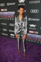 "LOS ANGELES, CA - APRIL 22: Letitia Wright attends the Los Angeles World Premiere of Marvel Studios' ""Avengers: Endgame"" at the Los Angeles Convention Center on April 23, 2019 in Los Angeles, California. (Photo by Jesse Grant/Getty Images for Disney) *** Local Caption *** Letitia Wright"