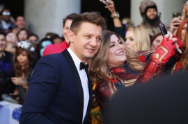 "LOS ANGELES, CA - APRIL 22: Jeremy Renner attends the Los Angeles World Premiere of Marvel Studios' ""Avengers: Endgame"" at the Los Angeles Convention Center on April 23, 2019 in Los Angeles, California. (Photo by Rich Polk/Getty Images for Disney) *** Local Caption *** Jeremy Renner"