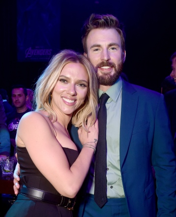 "LOS ANGELES, CA - APRIL 22: Scarlett Johansson (L) and Chris Evans attend the Los Angeles World Premiere of Marvel Studios' ""Avengers: Endgame"" at the Los Angeles Convention Center on April 23, 2019 in Los Angeles, California. (Photo by Alberto E. Rodriguez/Getty Images for Disney) *** Local Caption *** Scarlett Johansson; Chris Evans"