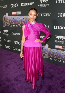 "LOS ANGELES, CA - APRIL 22: Zoe Saldana attends the Los Angeles World Premiere of Marvel Studios' ""Avengers: Endgame"" at the Los Angeles Convention Center on April 23, 2019 in Los Angeles, California. (Photo by Jesse Grant/Getty Images for Disney) *** Local Caption *** Zoe Saldana"