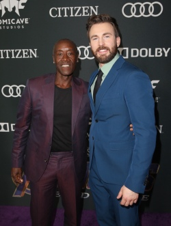 "LOS ANGELES, CA - APRIL 22: (L-R) Don Cheadle and Chris Evans attend the Los Angeles World Premiere of Marvel Studios' ""Avengers: Endgame"" at the Los Angeles Convention Center on April 23, 2019 in Los Angeles, California. (Photo by Jesse Grant/Getty Images for Disney) *** Local Caption *** Chris Evans; Don Cheadle"