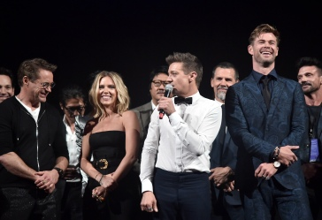 "LOS ANGELES, CA - APRIL 22: (L-R) Robert Downey Jr., Scarlett Johansson, Jeremy Renner, and Chris Hemsworth speak onstage during the Los Angeles World Premiere of Marvel Studios' ""Avengers: Endgame"" at the Los Angeles Convention Center on April 23, 2019 in Los Angeles, California. (Photo by Alberto E. Rodriguez/Getty Images for Disney) *** Local Caption *** Chris Hemsworth; Jeremy Renner; Scarlett Johansson; Robert Downey Jr.; Josh Brolin; Frank Grillo; Benedict Wong; Hiroyuki Sanada; Paul Rudd"