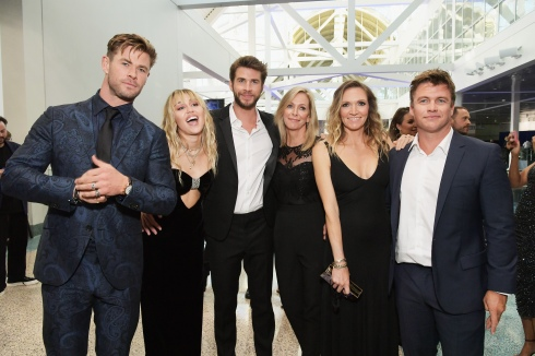 "LOS ANGELES, CA - APRIL 22: (L-R) Chris Hemsworth, Miley Cyrus, Liam Hemsworth, Leonie Hemsworth, Samantha Hemsworth and Luke Hemsworth attend the Los Angeles World Premiere of Marvel Studios' ""Avengers: Endgame"" at the Los Angeles Convention Center on April 23, 2019 in Los Angeles, California. (Photo by Charley Gallay/Getty Images for Disney) *** Local Caption *** Luke Hemsworth; Leonie Hemsworth; Samantha Hemsworth; Liam Hemsworth; Miley Cyrus; Chris Hemsworth"