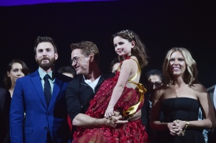 "LOS ANGELES, CA - APRIL 22: (L-R) Chris Evans, Robert Downey Jr., Alexandra Rabe, and Scarlett Johansson speak onstage the Los Angeles World Premiere of Marvel Studios' ""Avengers: Endgame"" at the Los Angeles Convention Center on April 23, 2019 in Los Angeles, California. (Photo by Alberto E. Rodriguez/Getty Images for Disney) *** Local Caption *** Scarlett Johansson; Robert Downey Jr.; Chris Evans; Alexandra Rabe"